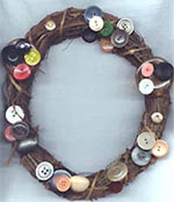 button grapevine wreath