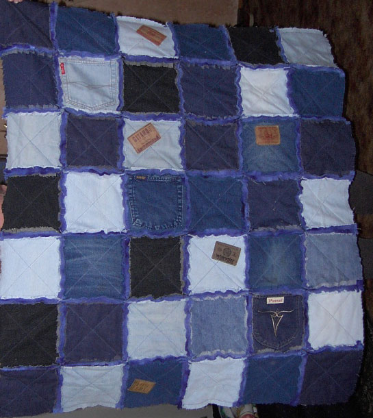 Rag quilts made with blue jeans