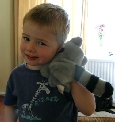 My grandson with his racoon puppet that I made